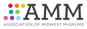 Association of Midwest Museums logo with eight multi-colored dots besides the letters AMM