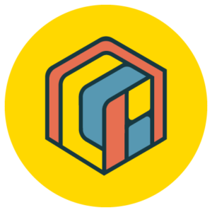 A yellow circular icon with a multi-colored rubix-like cube inside.