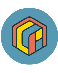 A blue circle with the Museum Learning Hub icon in it, showing a colorful cube with yellow, red, and blue.