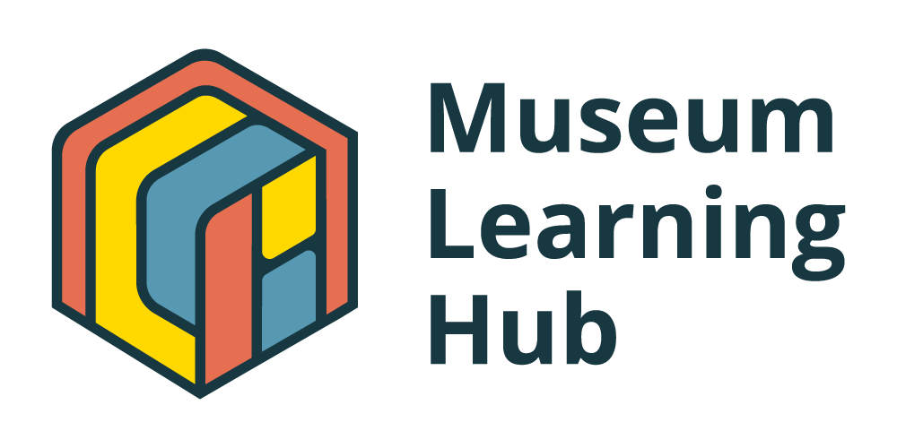 A colorful box with red, blue, and yellow bands and text that reads, Museum Learning Hub