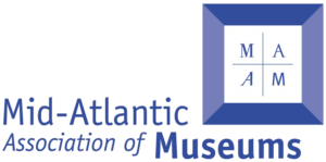 Blue logo for the Mid Atlantic Association of Museums features a three-dimensional looking box.