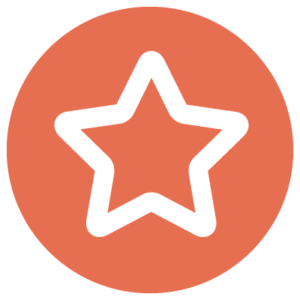 A circular orange icon with a white star in the middle.
