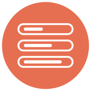 A circular orange icon with three stacked rows.