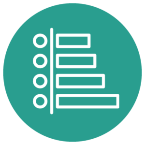A circular green icon that shows a tiered list of lines and circles.