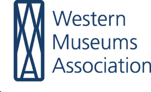 Western Museums Association logo with a grid of intersecting blue lines.