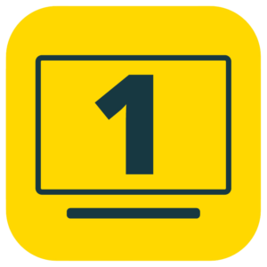 A bright yellow-colored square icon with a large number 1 in the middle of a computer screen.