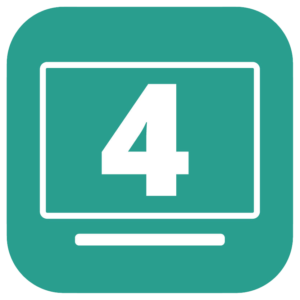 A teal-colored square icon with a large number 4 in the middle of a computer screen.
