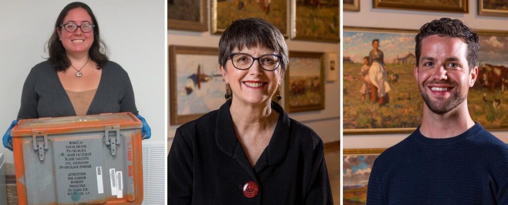 Three headshot photos of the speakers, including from left to right, Ann, who holds an archival box in a museum; Carolyne in middle, who wears a black shirt and has short brown hair, and Taylor, who has a close-cropped brown beard and stands in front of a gallery wall with paintings.