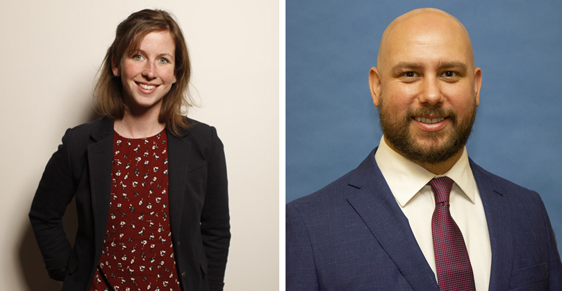 On the left, a woman with shoulder-length brown hair wears a black blazer and stands in front of a beige wall; on the right, a man with a suit jacket and tie stands in front of a blue background.
