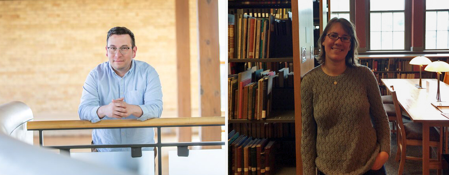 On the left, a man with a blue collared shirt stands next to a staircase in a library or gallery, and on the right, a woman with a brown sweater stands next to the stacks in a library.